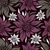 Naadloos uitstekend bloemenpatroon met lilly vector illustratie