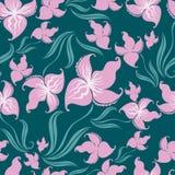 Naadloos uitstekend bloemenpatroon met orchidee royalty-vrije illustratie