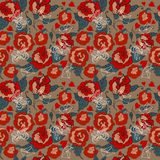 Naadloos Uitstekend Bloemenpatroon voor Valentine-ontwerp Stock Afbeelding
