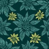 Naadloos uitstekend grunge bloemenpatroon met lilly stock illustratie