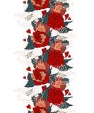 Naadloos uitstekend patroon met bloemen Stock Afbeelding