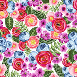 Naadloos uitstekend patroon met geschilderde bloem Stock Afbeeldingen