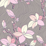 Naadloos uitstekend patroon met magnoliabloem Stock Foto
