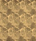 Naadloos uitstekend patroon met sepia rozen Stock Afbeeldingen