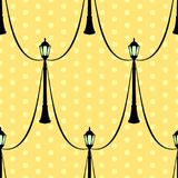 Naadloos uitstekend patroon met zwarte straatlantaarn vector illustratie