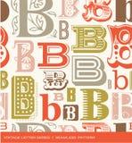Naadloos uitstekend patroon van de brief B in retro kleuren Stock Fotografie