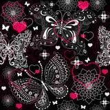 Naadloos valentijnskaart kanten patroon Royalty-vrije Stock Foto's