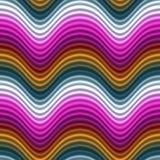 Naadloos van de Golven van de Kleur van het pop-art Magenta Rode Gele Royalty-vrije Stock Afbeeldingen