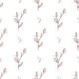 Naadloos van dunne takken met bladeren Stock Afbeelding