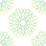 Naadloos van Groene Lotus On White Stock Foto's
