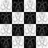 Naadloos van het tekenkanker van de textuurdierenriem zwart-wit de tekeningsmeisje met vlechten in de vorm van klauwenkanker royalty-vrije stock fotografie