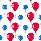 Naadloos van rode en blauwe ballons Stock Afbeeldingen