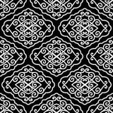 Naadloos van Wit Ornament op Zwarte Stock Afbeelding