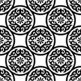 Naadloos van Zwart Ornament op Wit Stock Afbeeldingen