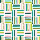 Naadloos vector abstract patroon met borstelslagen Met de hand geschilderde textuur Roze groene penseelstreken op een witte achte Royalty-vrije Stock Foto's