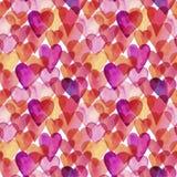 Naadloos vector artistiek de liefdepatroon van de ontwerpwaterverf Royalty-vrije Stock Afbeeldingen