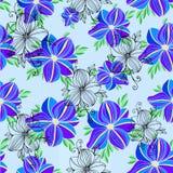Naadloos vector bloemen decoratief orchidee blauw kleurrijk patroon Stock Afbeeldingen