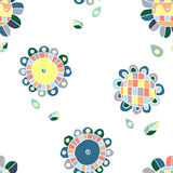 Naadloos vector bloemenpatroon, decoratieve leuke hand getrokken kinderlijke achtergrond met bloemen Druk voor het verpakken, ach Royalty-vrije Stock Afbeelding