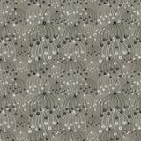 Naadloos vector bloemenpatroon Grijze hand getrokken abstracte achtergrond met bloemen Royalty-vrije Stock Afbeeldingen