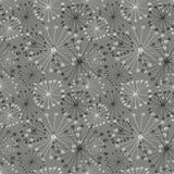 Naadloos vector bloemenpatroon Grijze hand getrokken achtergrond met abstracte bloemen Royalty-vrije Stock Afbeelding
