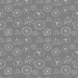 Naadloos vector bloemenpatroon Grijze hand getrokken achtergrond met verschillende bloemen Royalty-vrije Stock Afbeeldingen