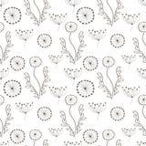 Naadloos vector bloemenpatroon Zwart-witte hand getrokken achtergrond met verschillende bloemen en bladeren Stock Foto