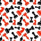 Naadloos vector chaotisch patroon met zwart en rood en schaakstukken Royalty-vrije Stock Foto