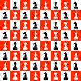 Naadloos vector chaotisch patroon met zwart-witte schaakstukken op de rode en witte schaakraad Stock Afbeelding