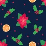Naadloos vector de winter leuk patroon met verschillende heldere vakantieelementen stock afbeelding
