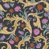 Naadloos vector donker uitstekend bloemenpatroon Royalty-vrije Stock Afbeeldingen