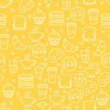 Naadloos vector eenvoudig lineair voedselpatroon Ontbijtillustrati Stock Foto