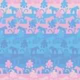Naadloos vector gestreept patroon met roze en blauwe eenhoorns en bloemen vector illustratie