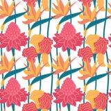 Naadloos vector hand-drawn abstract patroon met tropische bladeren en bloemen in Skandinavische stijl royalty-vrije illustratie