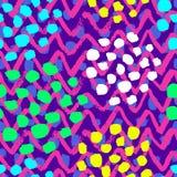 Naadloos vector kleurrijk kwaststreekpatroon De in stof van de kleurenmanier, dekking, textiel, golvende lijnen vat achtergrondon vector illustratie