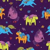 Naadloos vector kleurrijk leuk patroon met aanbiddelijke eenhoorns Royalty-vrije Stock Foto's