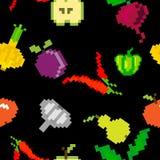 Naadloos vector retro de vruchten van het pixelspel patroon stock illustratie