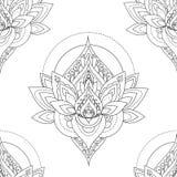 Naadloos vector uitstekend patroon met abstracte lotusbloemillustraties Stock Afbeeldingen