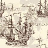 Naadloos vectorbehang met schip in uitstekende stijl Stock Afbeelding