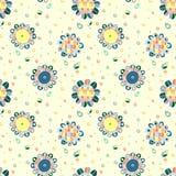 Naadloos vectorhand getrokken krabbel kinderlijk bloemenpatroon Achtergrond met kinderachtige bloemen, bladeren Decoratieve leuke Royalty-vrije Stock Foto's