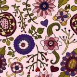 Naadloos vectorkleuren bloemenpatroon op roze achtergrond Stock Afbeeldingen