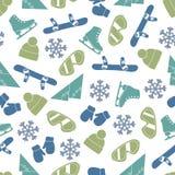 Naadloos vectorlijnpatroon met de winterelementen Royalty-vrije Stock Fotografie