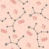 Naadloos vectorpatroon Achtergrond met het beeld van constellatie Royalty-vrije Stock Foto's