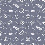 Naadloos vectorpatroon, achtergrondmonitor, notitieboekje, router, usb en microfoon op de blauwe achtergrond De tekening van de h Stock Foto's