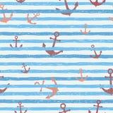 Naadloos vectorpatroon - blauwe strepen met ankers Stock Afbeelding