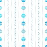 Naadloos vectorpatroon Blauwe verticale lijnen, cirkels en takjes op witte achtergrond Hand getrokken abstracte takillustratie Stock Afbeelding