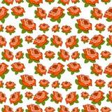Naadloos vectorpatroon, bloemen chaotische achtergrond met rozen over witte achtergrond Stock Foto's
