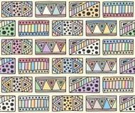 Naadloos vectorpatroon geometrische achtergrond met hand getrokken decoratieve stammenelementen Druk met etnisch, volks, traditio stock illustratie