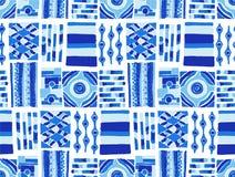 Naadloos vectorpatroon Geometrische achtergrond met hand getrokken decoratieve stammenelementen in uitstekende bruine kleuren Stock Afbeelding
