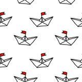 Naadloos vectorpatroon Hand getrokken document schepen met rode vlaggen op de witte achtergrond royalty-vrije illustratie