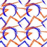Naadloos vectorpatroon Heldere kleurrijke geometrische achtergrond met driehoeken, cirkels, vierkanten en rechthoeken op witte ba Royalty-vrije Stock Foto